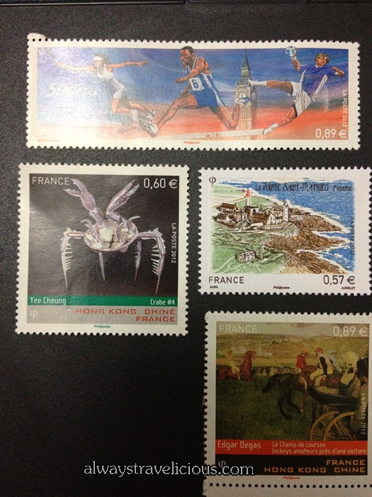 Stamps I bought at the Post Office in France to break up the 500 euro note.