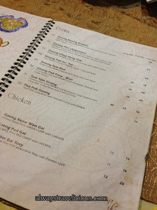 Mai Tai Restaurant Menu @ Taman Desa  1