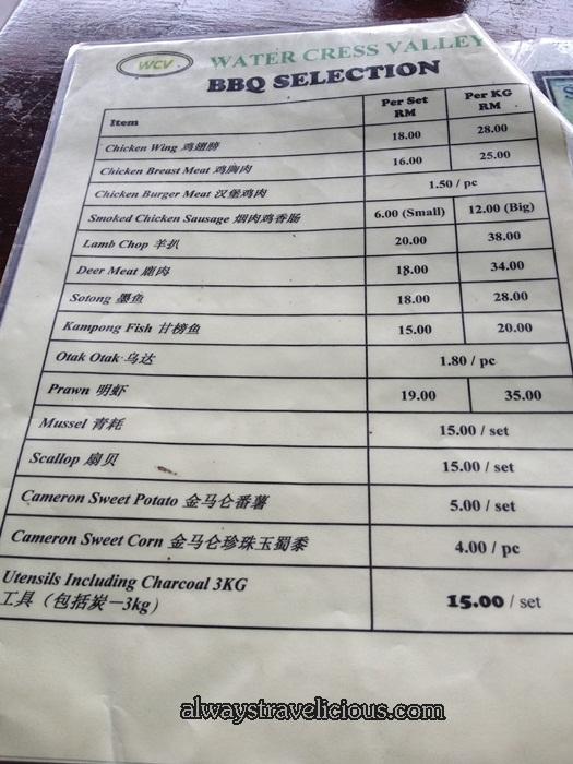 menu @ Watercress Valley @ Cameron Highlands 9