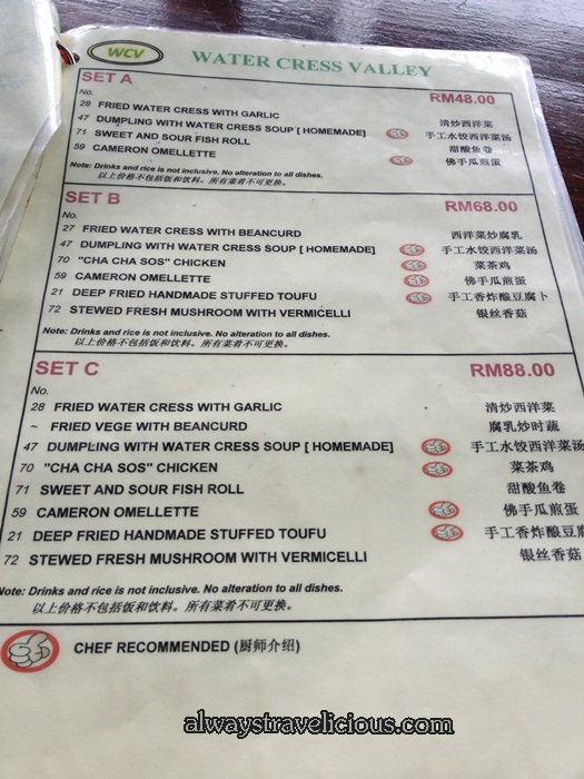 menu @ Watercress Valley @ Cameron Highlands 6