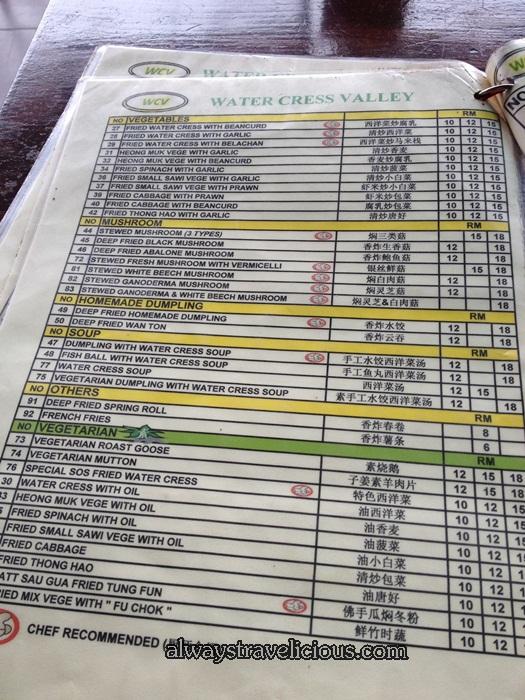 menu @ Watercress Valley @ Cameron Highlands 3