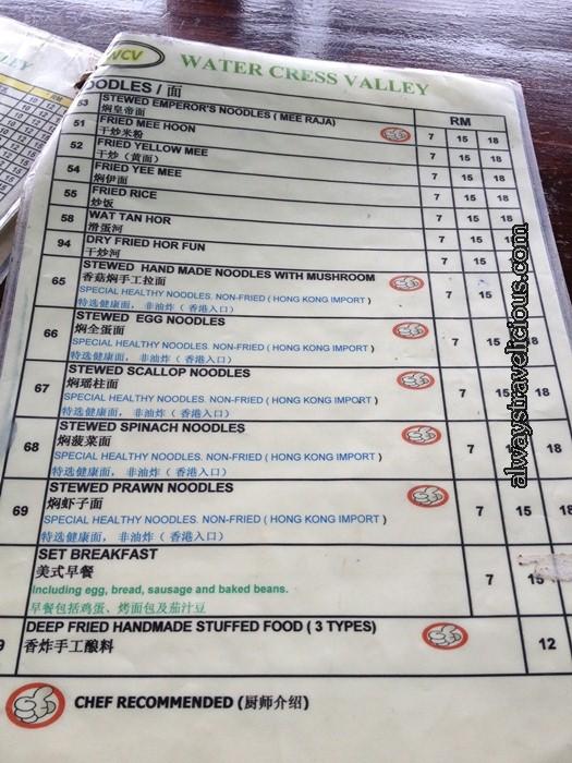menu @ Watercress Valley @ Cameron Highlands 2